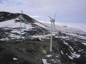 Ross Island wind farm in Antarctica with a crane erecting the second turbine