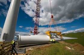 Blade about to be lifted into place at Te Uku wind farm
