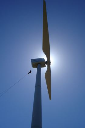 Abseiling out of a Windflow Technology turbine