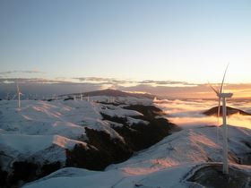Tararua wind farm in the snow